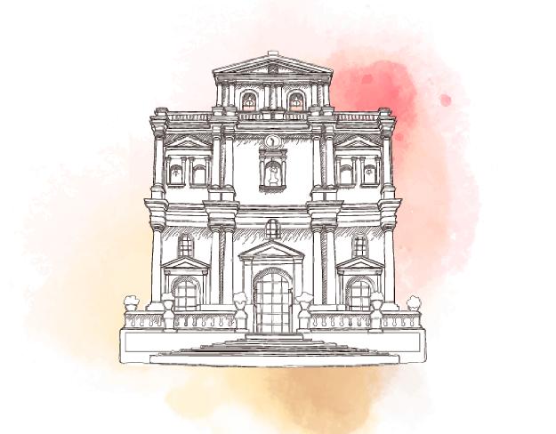 Ilustración iglesia del barrio Prado en Medellín